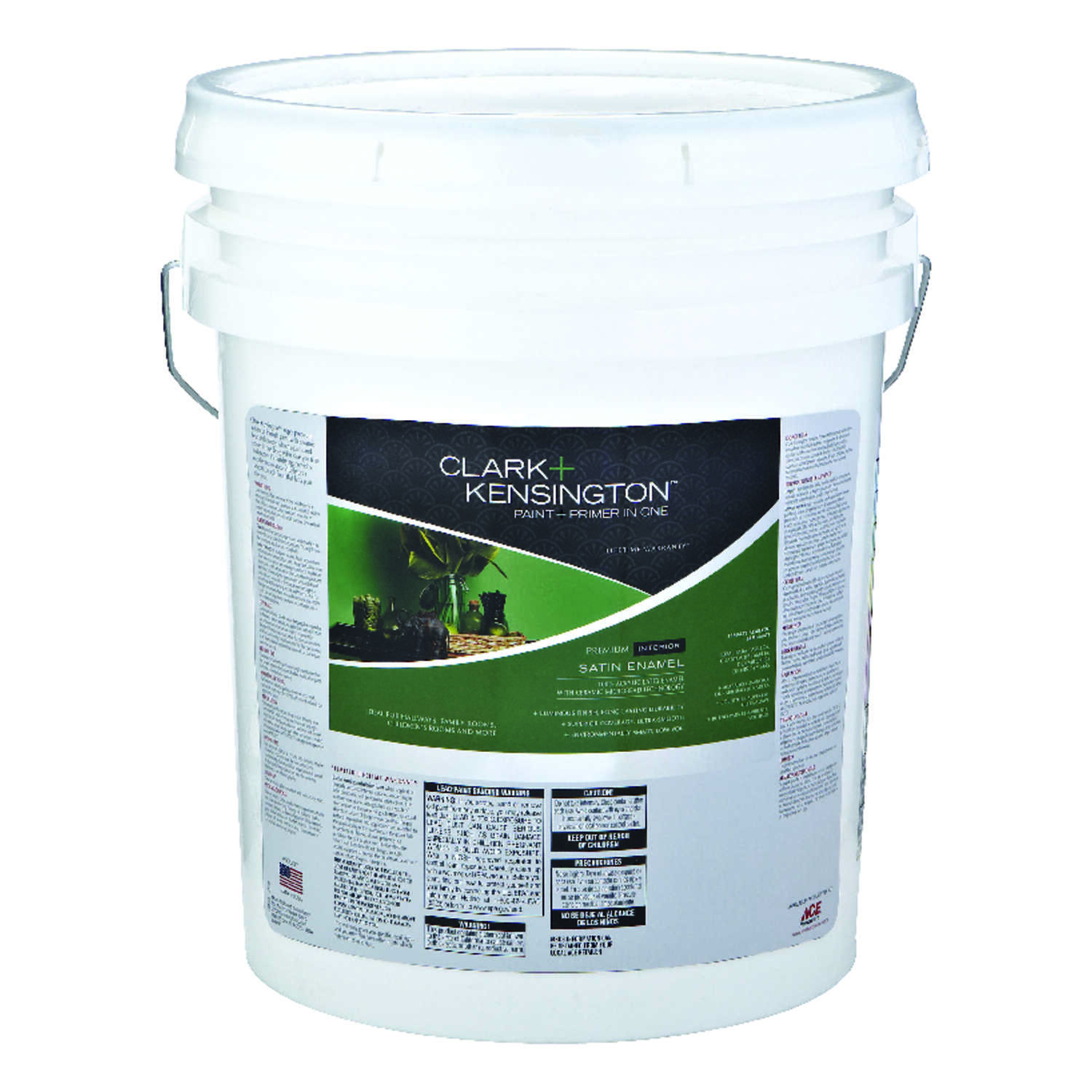 Clark+Kensington  Satin  Ultra White  Ultra White Base  Acrylic Latex  Paint and Primer  5 gal.