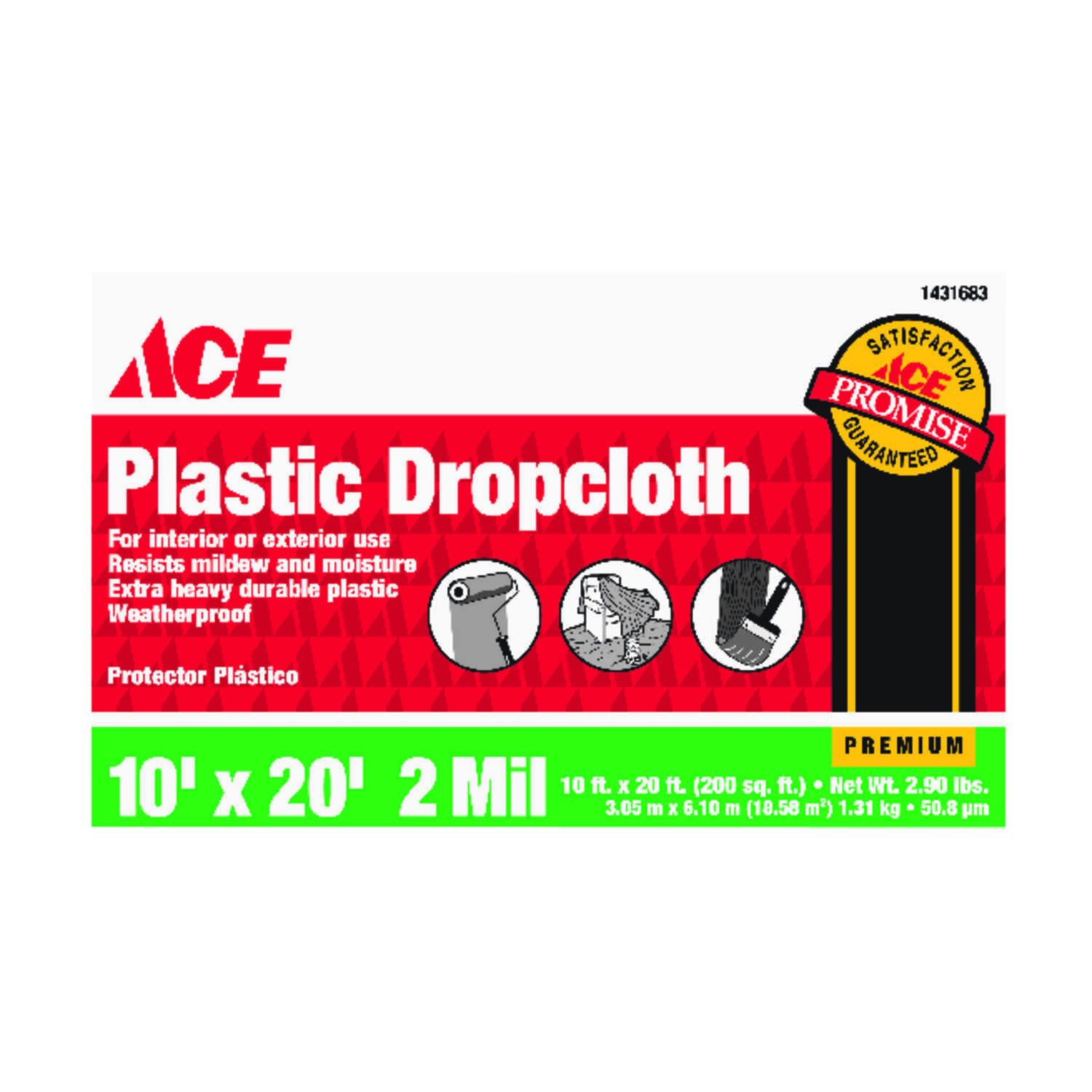ACE  Heavy Weight  Plastic  Drop Cloth  10 ft. W x 20 ft. L