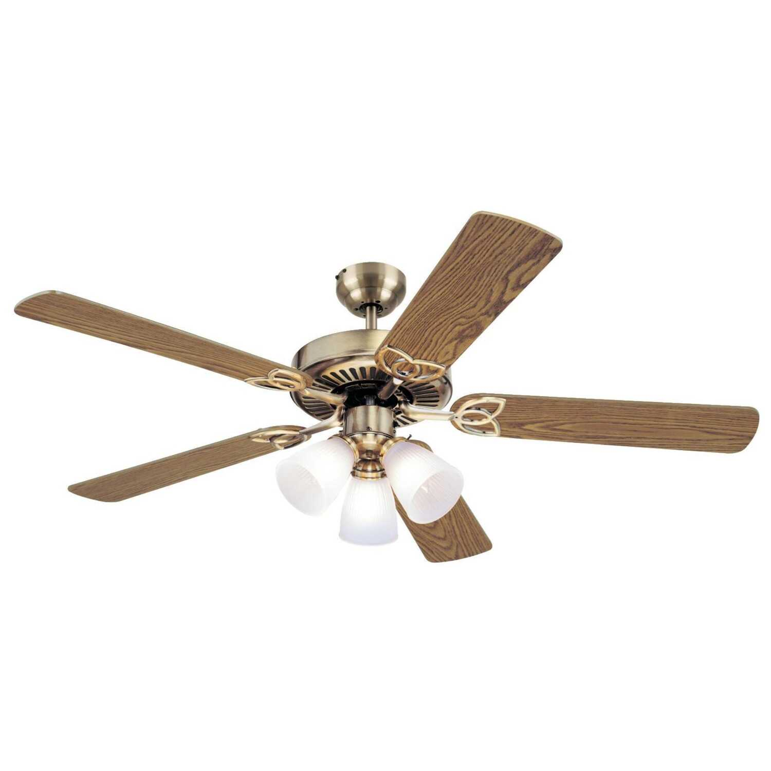 Westinghouse  Vintage  52 in. 5  52 in. W Antique Brass  Indoor  Ceiling Fan
