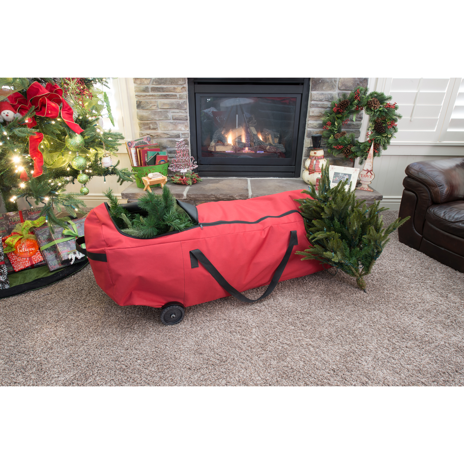 Santa's Bags Patent Pending EZ Roller Tree Storage Duffel. Easy to store your artificial tree and roll it away.