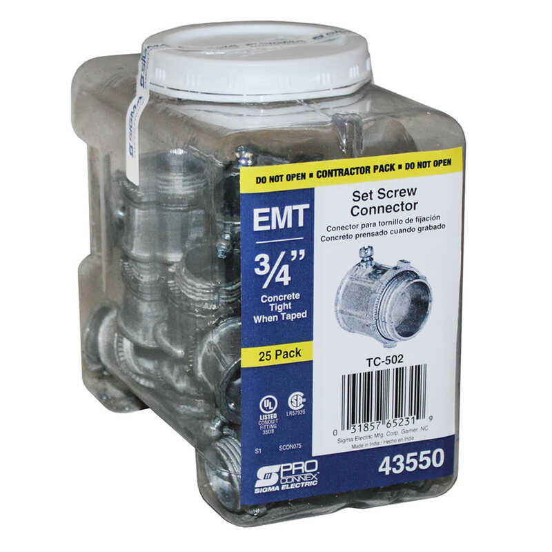Sigma Electric ProConnex  3/4 in. Dia. Die-Cast Zinc  Set Screw Connector  For EMT 25 pk