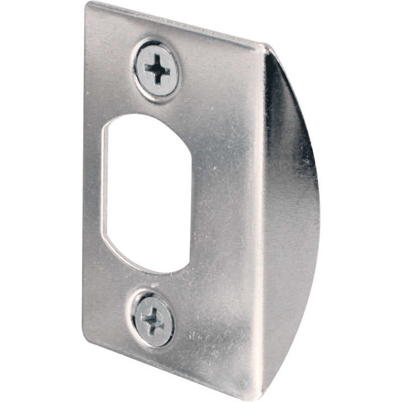 Prime-Line  2.25 in. H x 1-5/8 in. L Chrome  Steel  Latch Strike Plate
