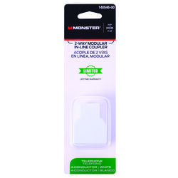 Monster  Just Hook It Up  White  2-Way In Line Coupler