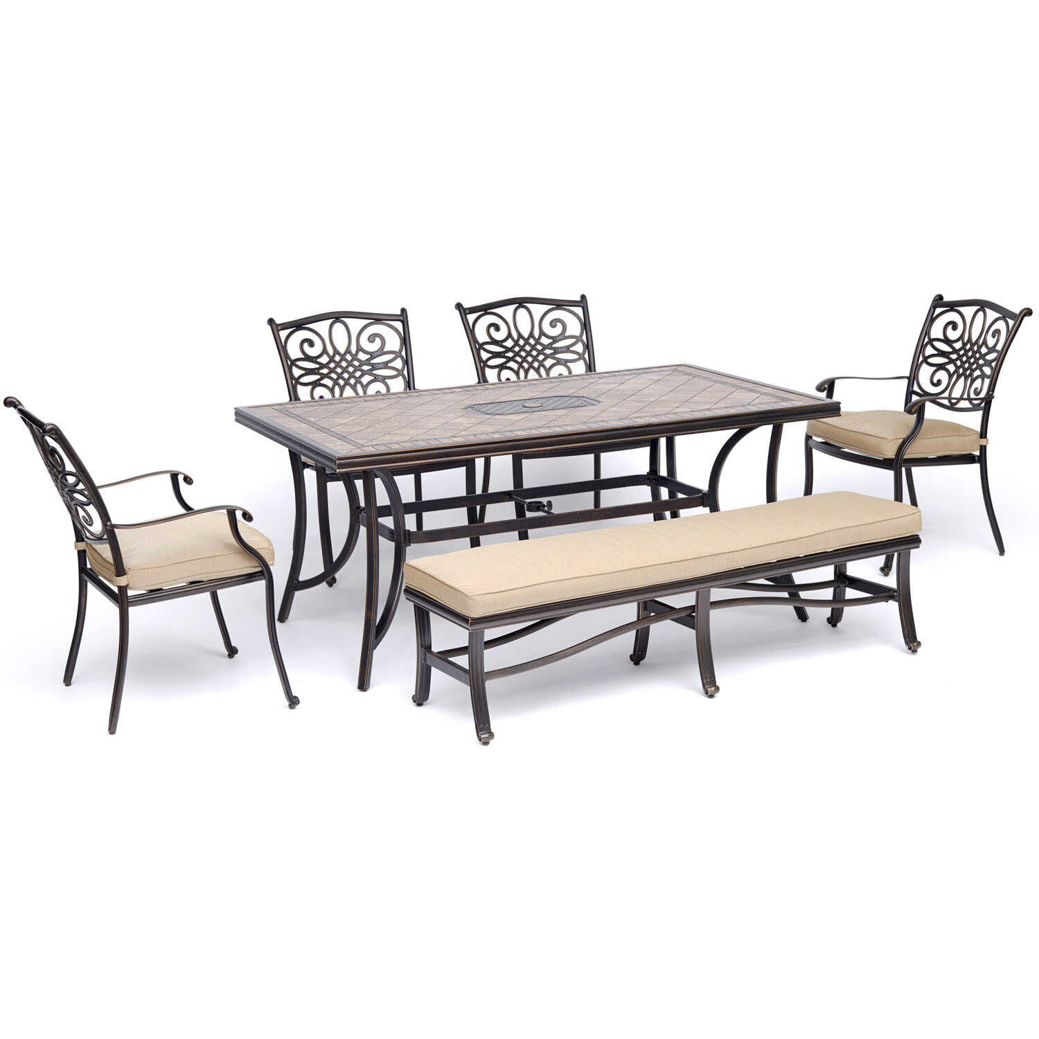 Hanover  Monaco  6 pc. Bronze  Aluminum  Patio Set  Tan