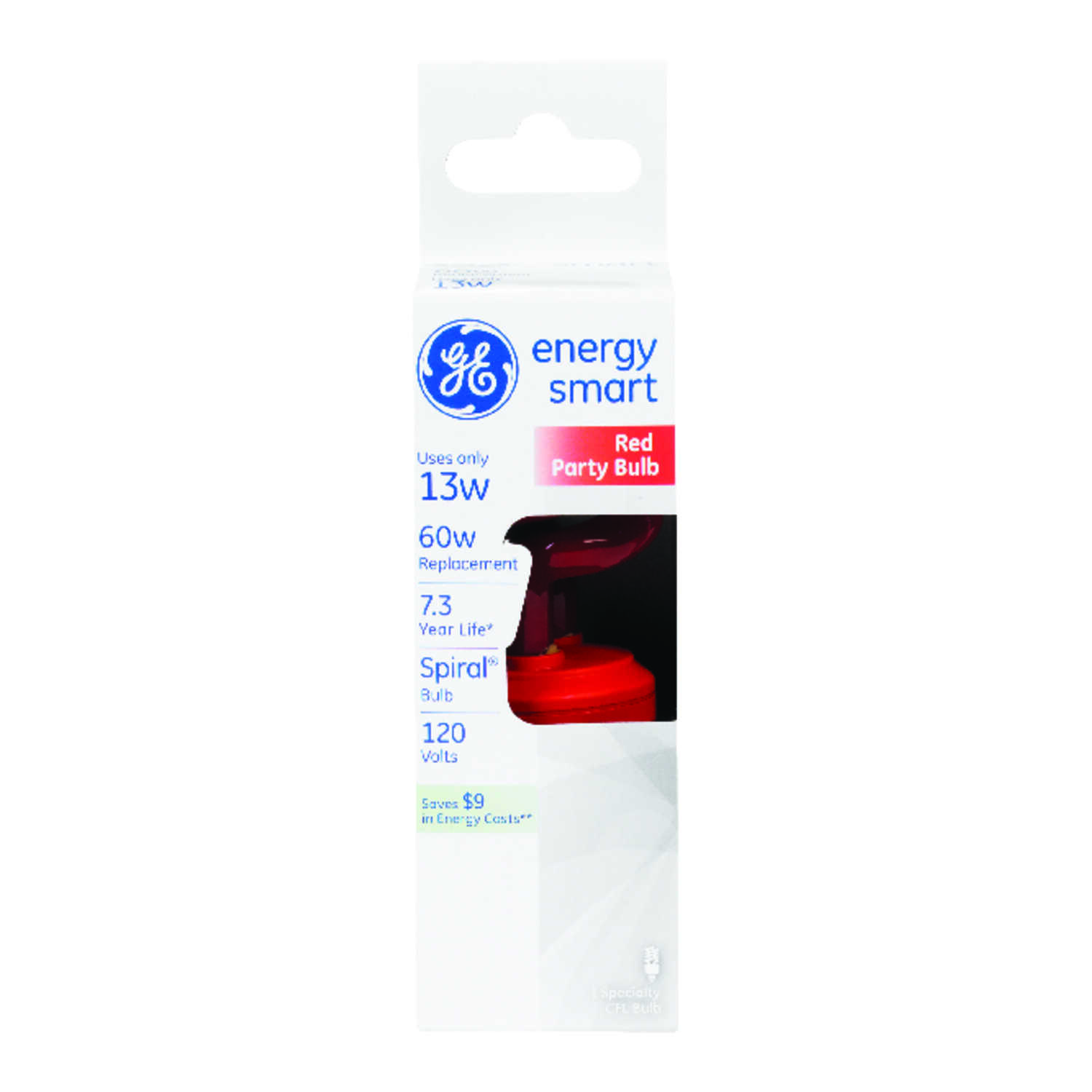 GE Lighting  Energy Smart  13 watts T3  4.9 in. L CFL Bulb  Red  Decorative  1 pk