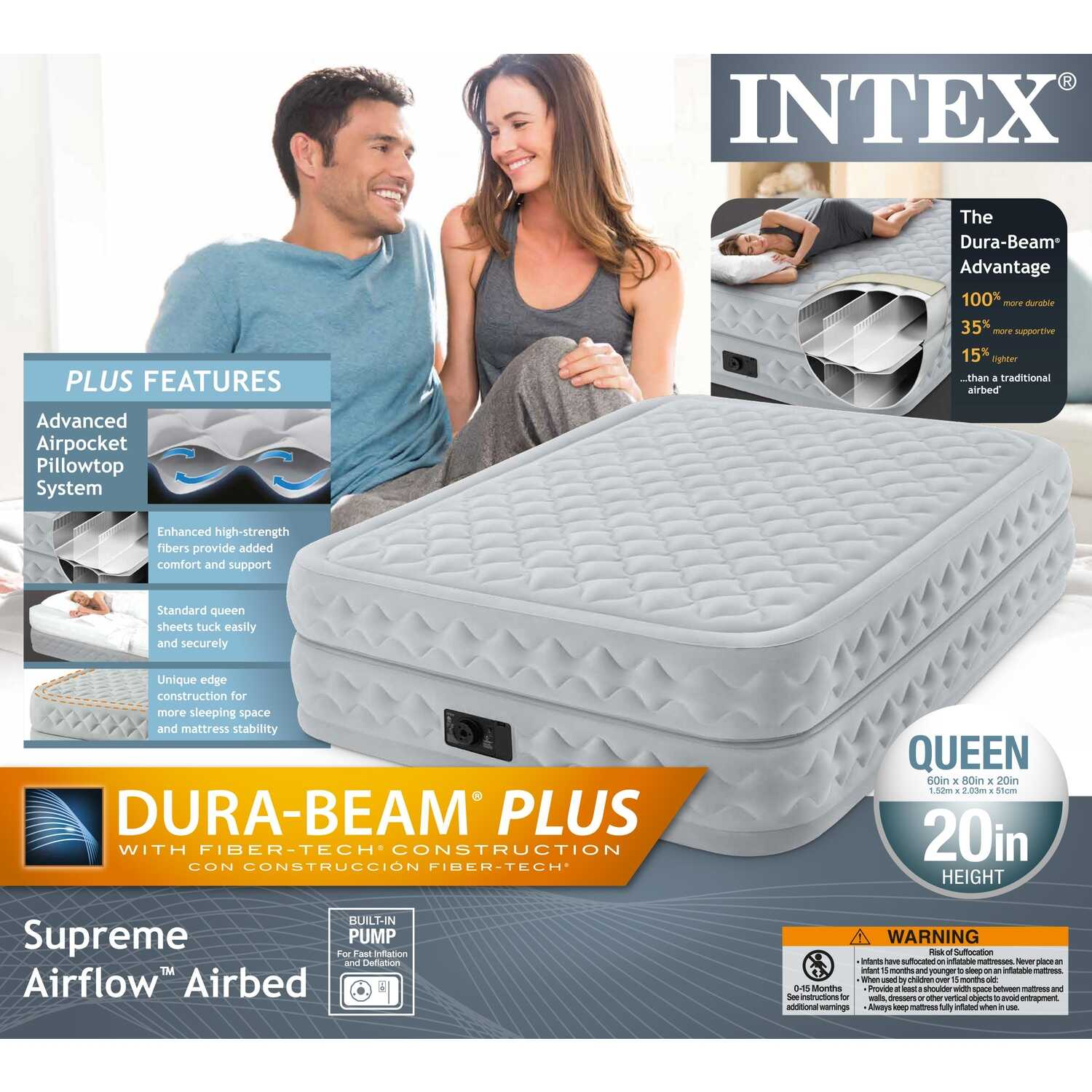 Intex  Dura-Beam Supreme Air-Flow  Air Mattress  Queen  Pump Included