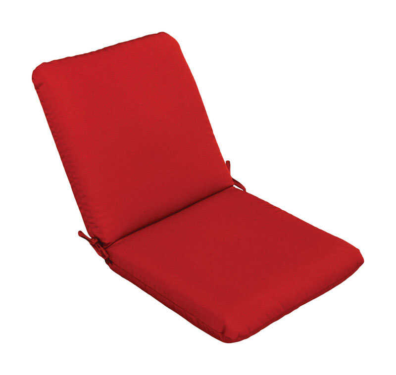 Casual Cushion  Red  Polyester  Seating Cushion  4 in. H x 22 in. W x 44 in. L