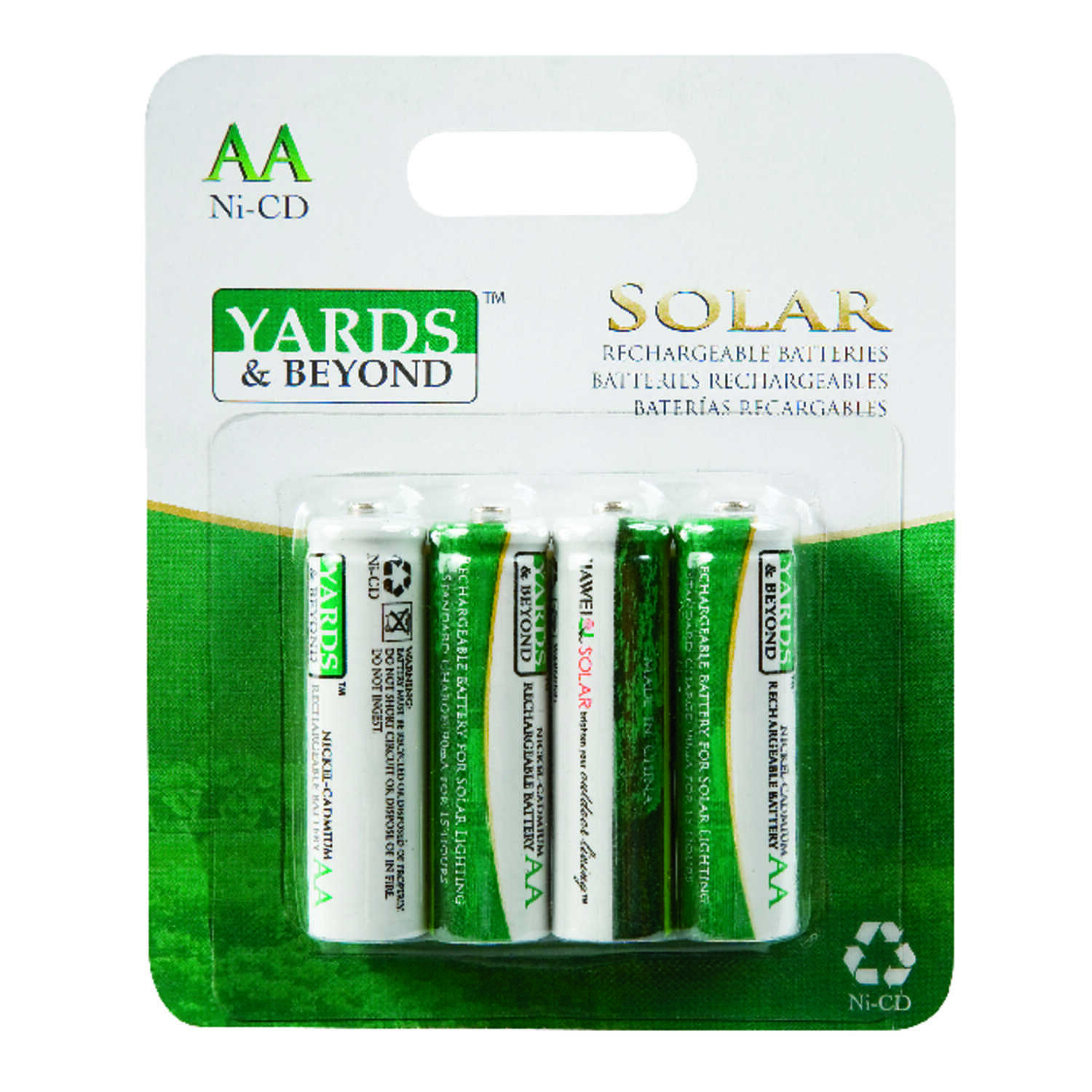 Living Accents Yards & Beyonds  Ni-Cad  AA  1.2 volt Solar Rechargeable Battery  BT-NC-AA-900-D4  4