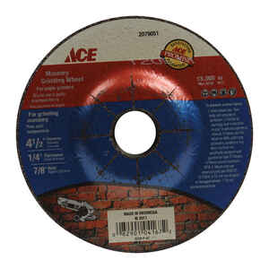 Ace  4-1/2 in. Dia. x 1/4 in. thick  x 7/8 in.   Aluminum Oxide  Masonry Grinding Wheel  13300 rpm 1