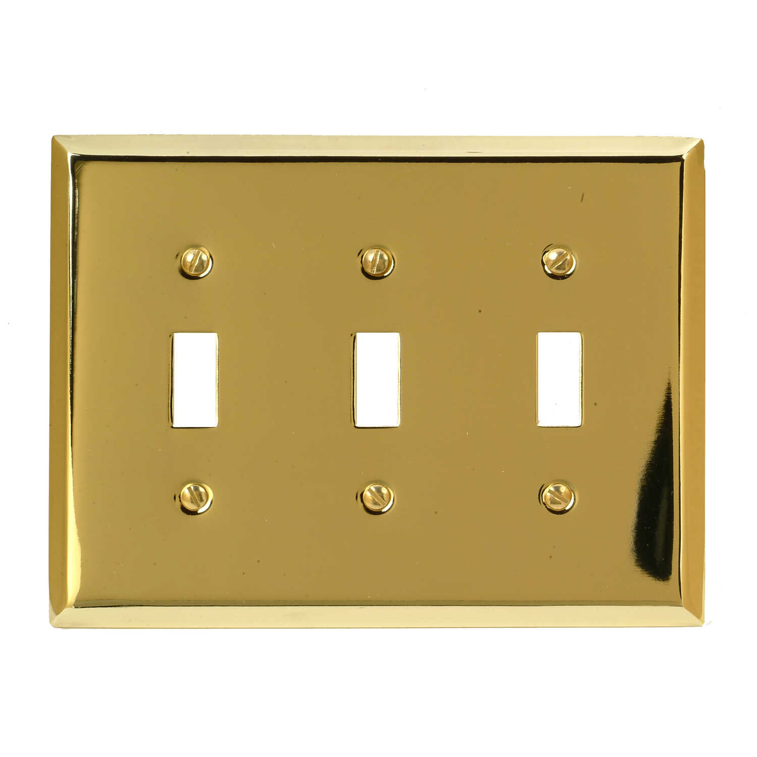 Amerelle  Century  Polished Brass  3 gang Stamped Steel  Toggle  Wall Plate  1 pk