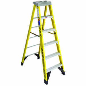 Werner  6 ft. H x 25 in. W Fiberglass  Type IAA  375 lb. capacity Step Ladder