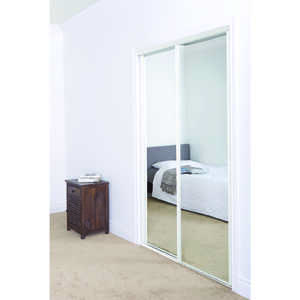 Erias Mirrored Sliding Door 30-3/16 in. x 78 in. Bright White 30 - 3/16 in. 78 in.