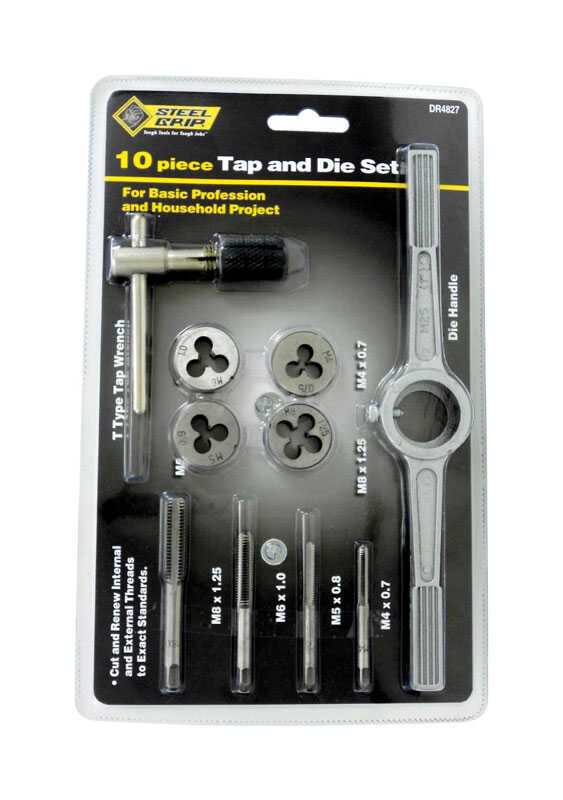 Steel Grip  Steel  Metric  Tap and Die Set  10 pc.