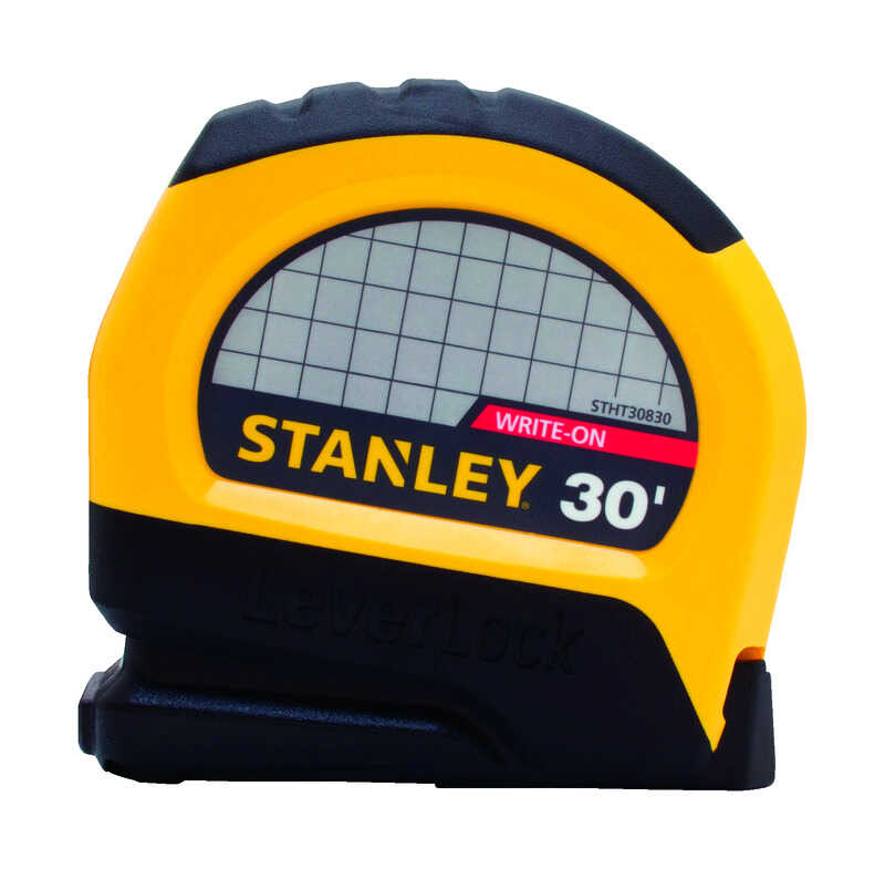Stanley  LeverLock  30 ft. L x 1 in. W Tape Measure  Yellow  1 pk