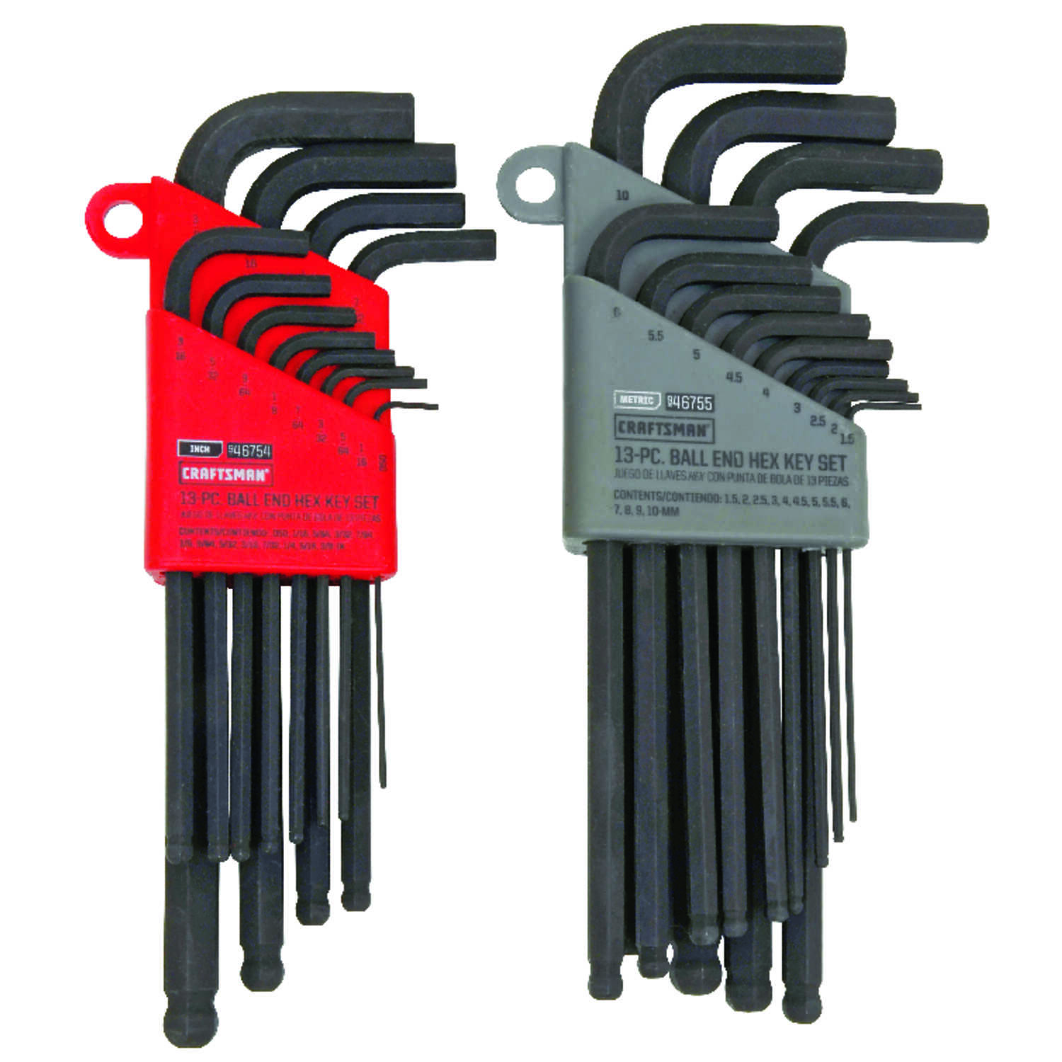Craftsman  1/4  Metric and SAE  Long and Short Arm  Ball End Hex Key Set  13 in. 26 pc.