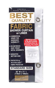 Excell  70 in. H x 71 in. W White  Shower Curtain  Solid