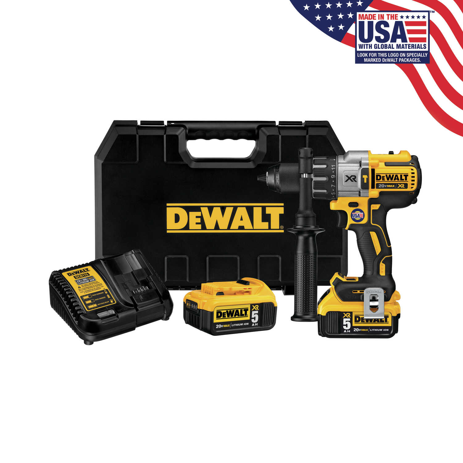 DeWalt  XR  20 volt Brushless  Cordless Hammer Drill/Driver  Kit  1/2 in. Metal Ratcheting  2250 rpm