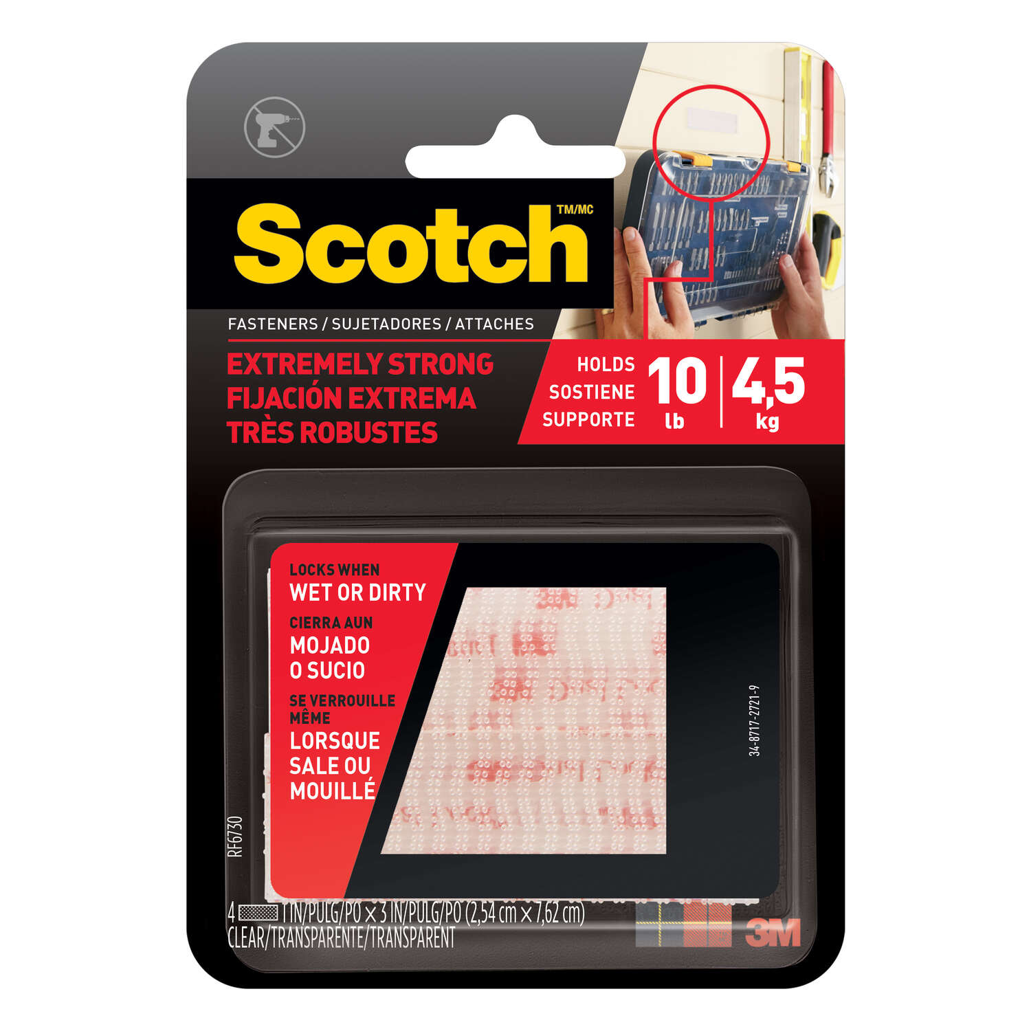 3M Scotch Small Foam Hook and Loop Fastener 3 in. L 2 pk