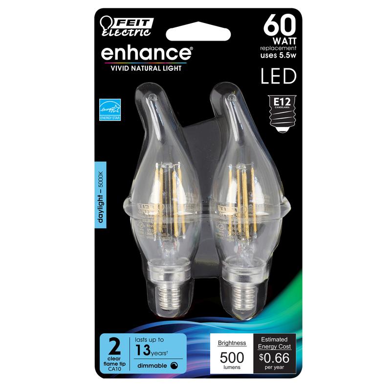 FEIT Electric 6 watts C10 LED Bulb 500 lumens Daylight Chandelier 60 ...