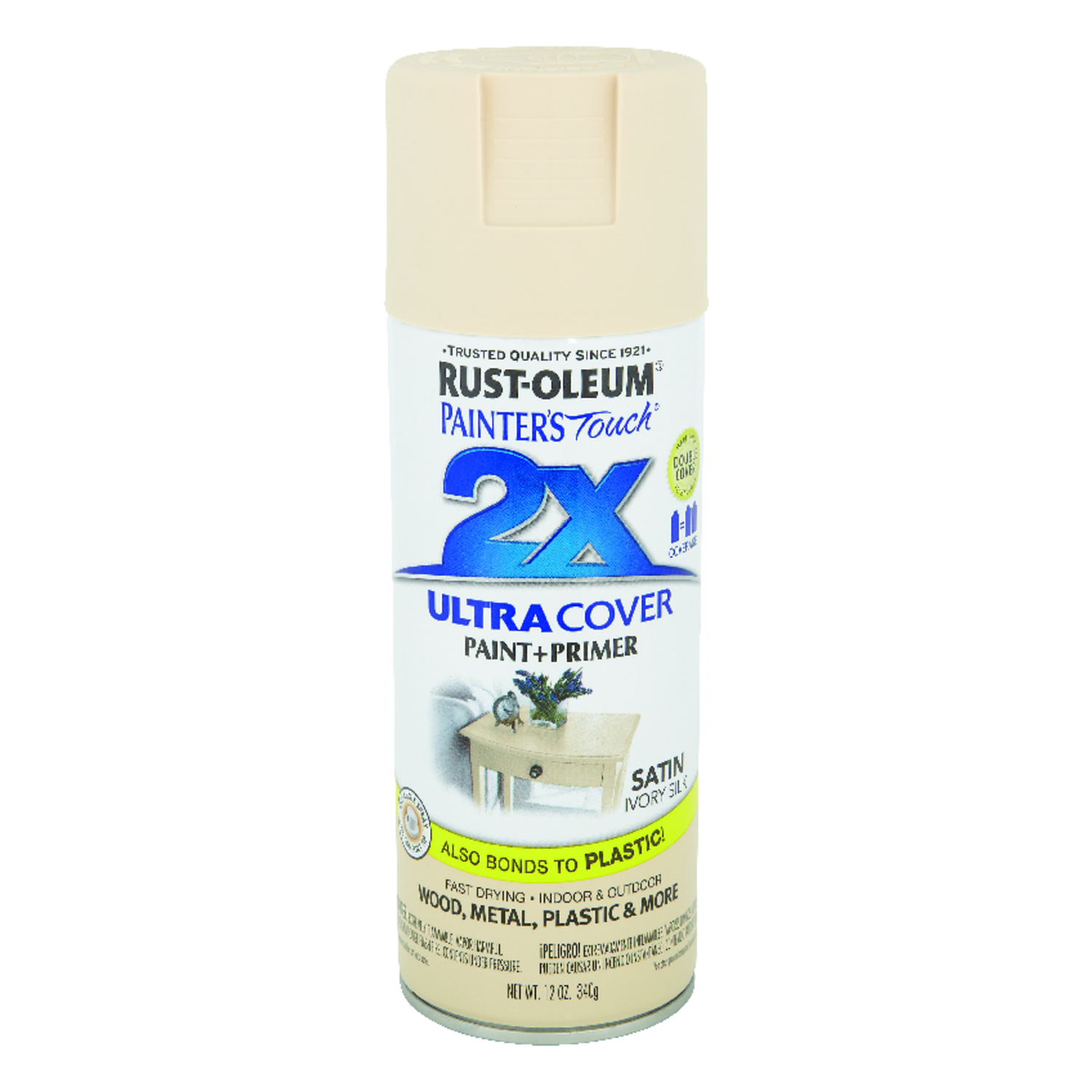 Rust-Oleum  Painter's Touch Ultra Cover  Satin  Spray Paint  12 oz. Ivory Silk