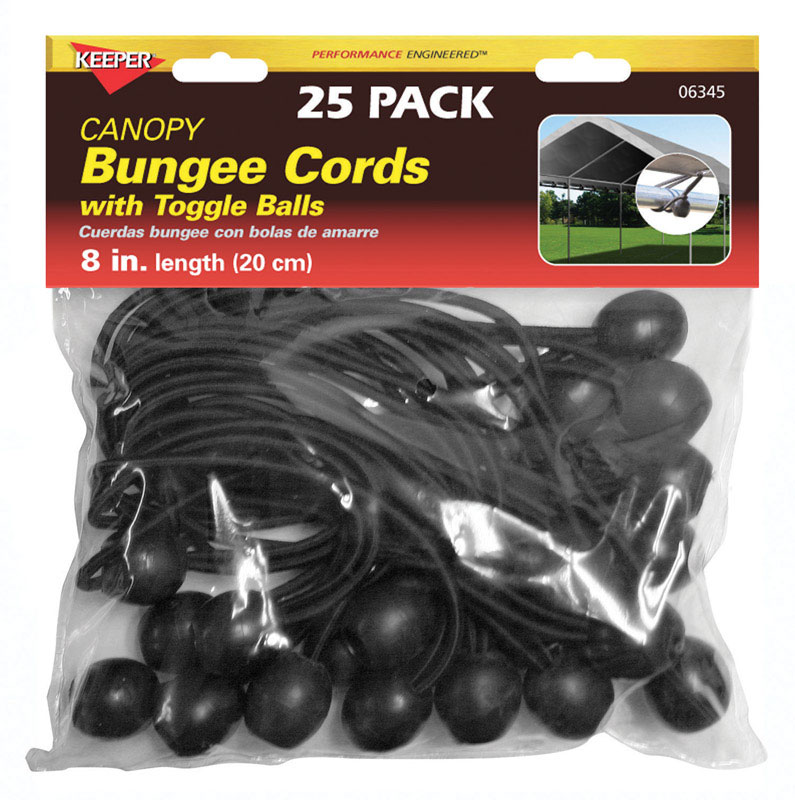 Keeper  Black  Bungee Cord  8 in. 0.315 in. 25 pk
