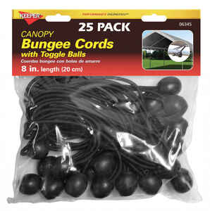 Keeper  Black  Bungee Cord  8 in. L x 0.315 in.  25 pk