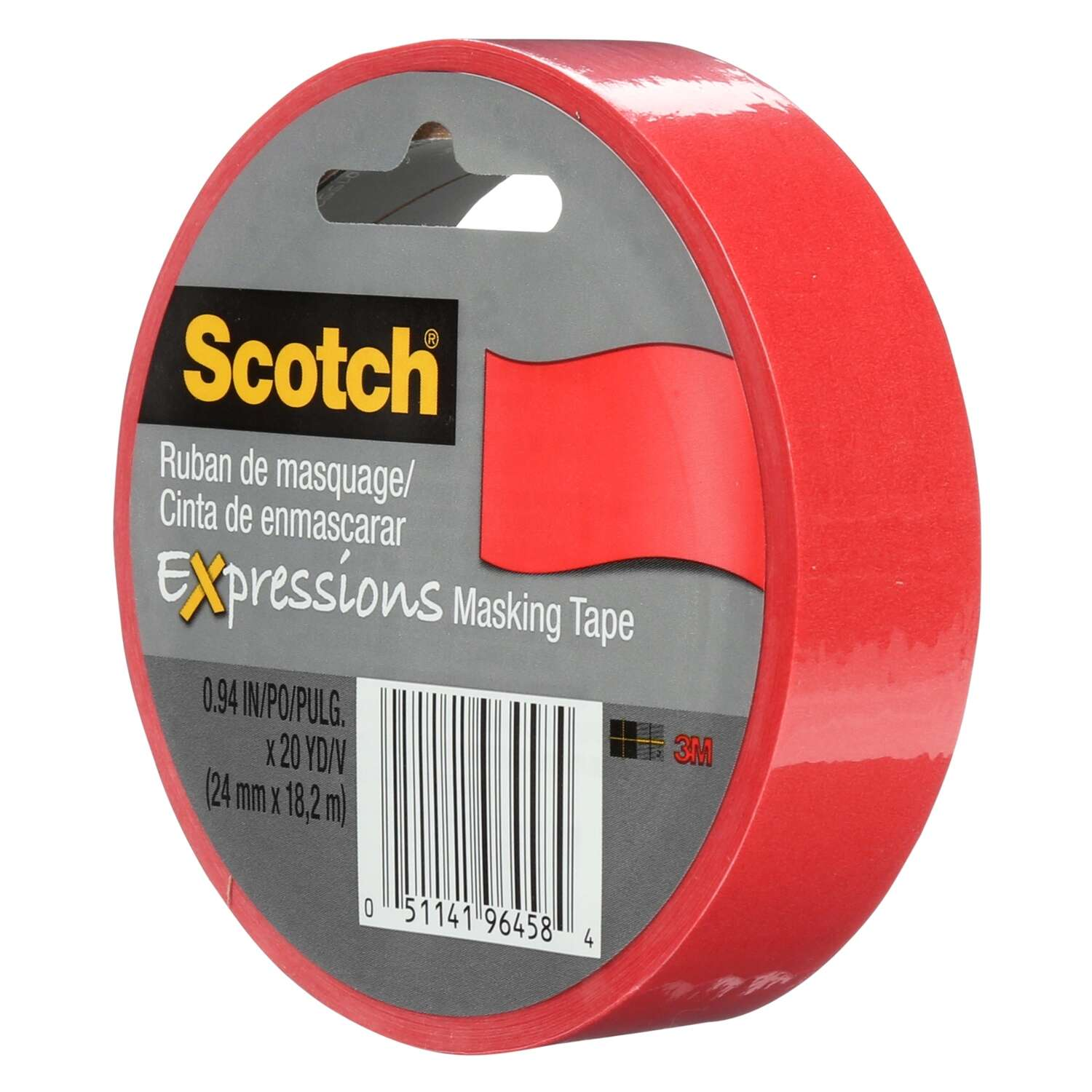 3M Scotch Expression Masking Tapes .94 in. x 20 yd.  Red