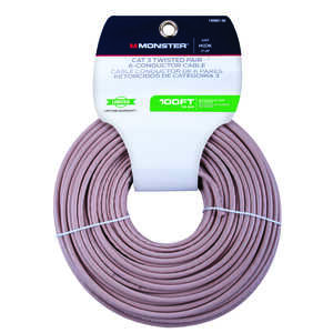 Monster Cable  100 ft. L Category 3 Twisted Pair Wire  Ivory