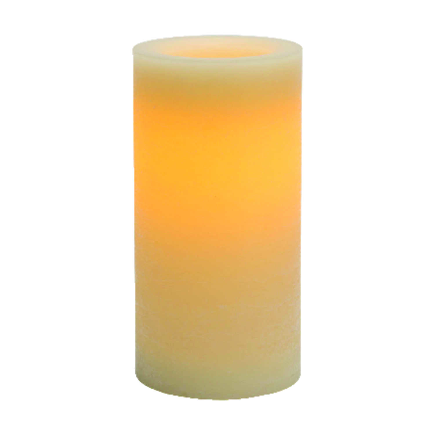 Inglow  Butter Cream  Vanilla Scent Pillar  Candle  8 in. H x 4 in. Dia.
