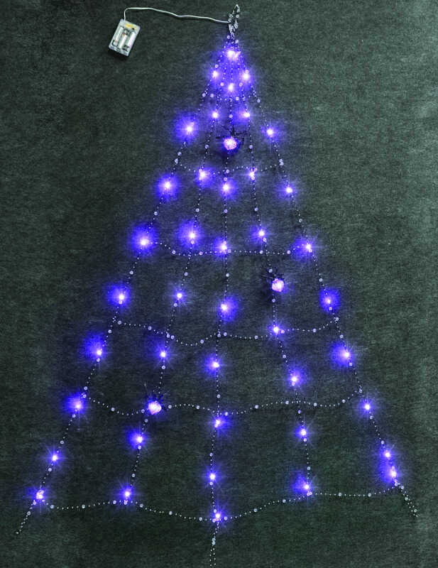 Celebrations Led Spider Web With Spiders Lighted Purple Halloween