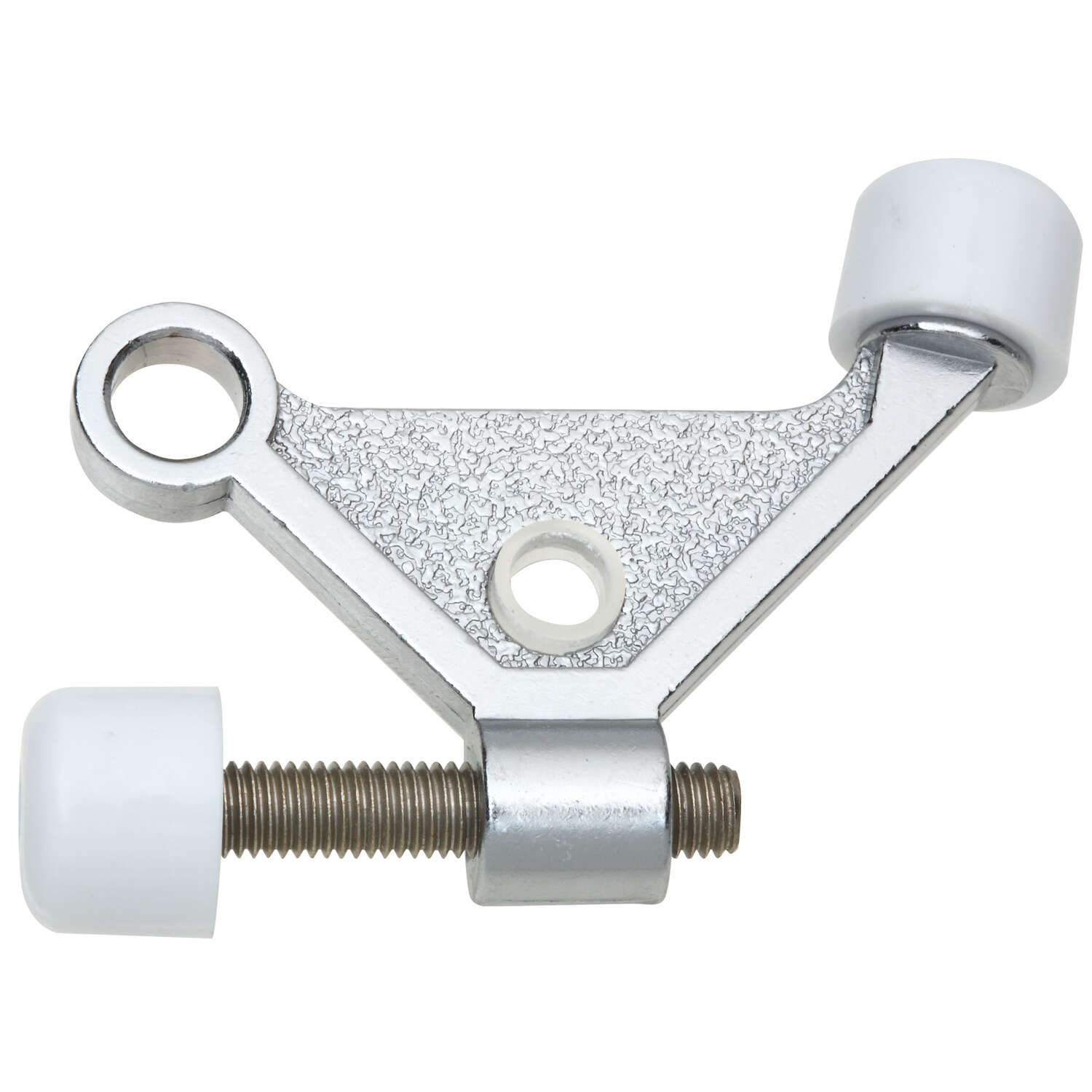 National Hardware  Zinc w/Rubber Tip  Satin Chrome  Hinge Pin Door Stop  Mounts to door hinge