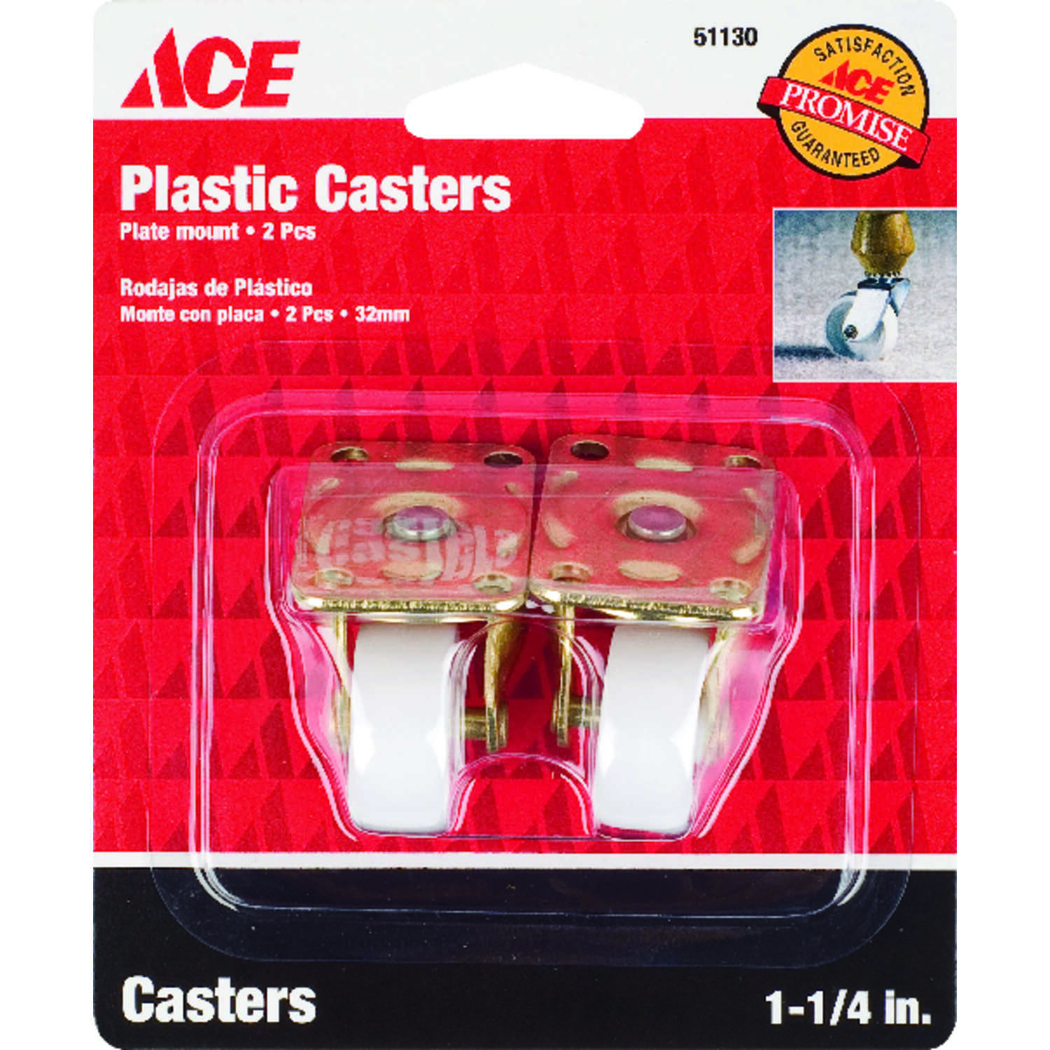 Ace  1-1/4 in. Dia. Plastic  Caster Wheel with Plate  40 lb. 2 pk