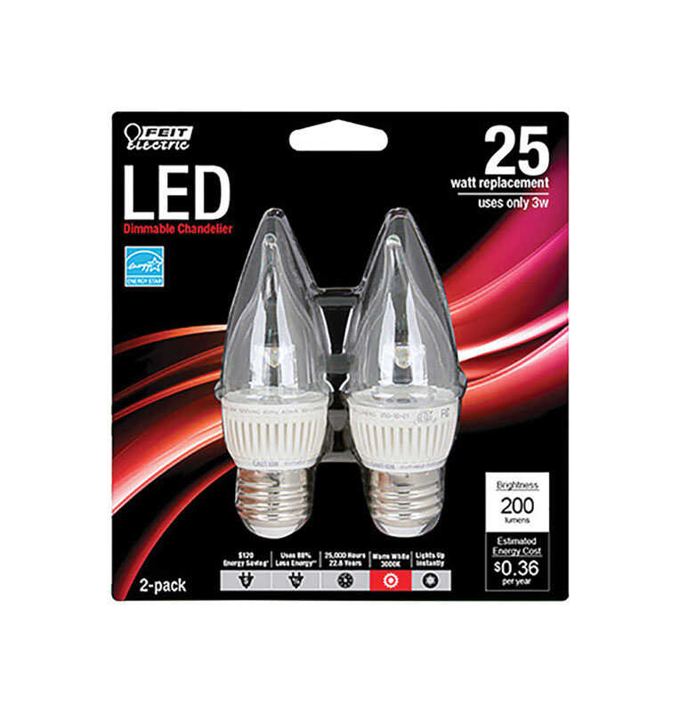 FEIT Electric  CA10  E26 (Medium)  LED Bulb  Warm White  25 Watt Equivalence 2 pk