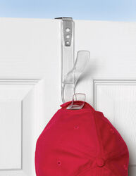 Spectrum  7 in. L Gloss  Clear  Plastic/Steel  Medium  Edge Adjustable Over the Door Hat & Coat  Hoo