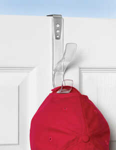Spectrum  7 in. L Gloss  Plastic/Steel  Clear  Medium  Hook  1 pk Edge Adjustable Over the Door Hat