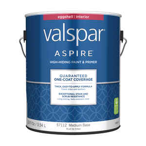Valspar  Aspire  Eggshell  Tintable  Medium Base  Acrylic Latex  Paint and Primer  1 gal.
