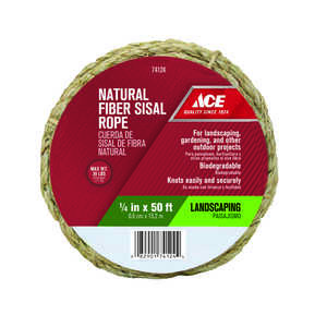 Ace  1/4 in. Dia. x 50 ft. L Natural  Twisted  Sisal  Rope