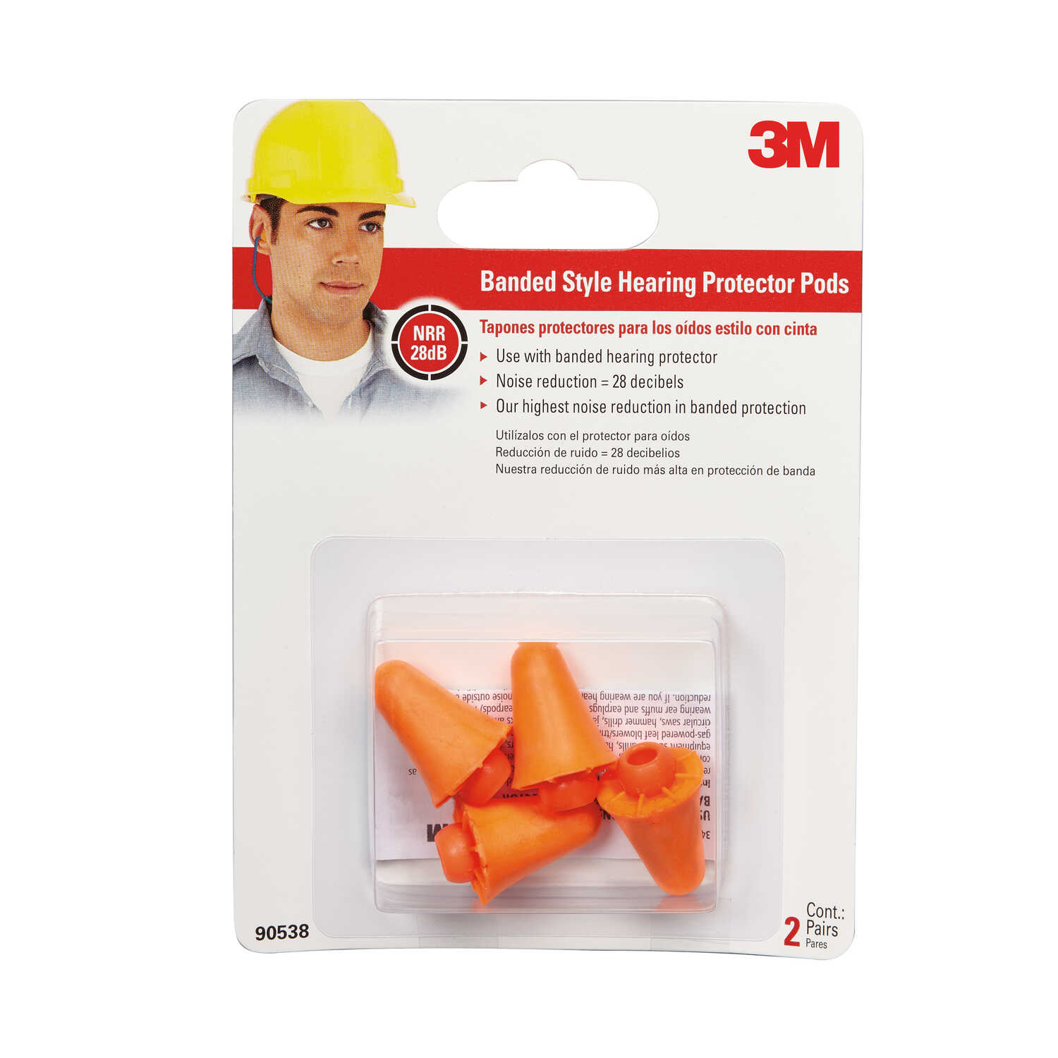 3M  28 dB Disposable  Polyurethane Foam  Orange  Ear Plugs  2