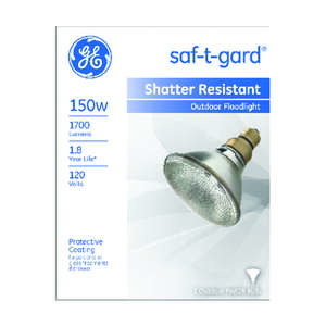 GE Lighting  Saf-T-Gard  150 watts PAR38  Incandescent Bulb  1700 lumens Floodlight  White  1 pk