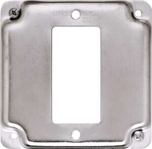 Raco  Square  Steel  1 gang Box Cover  For 1 GFCI Receptacle