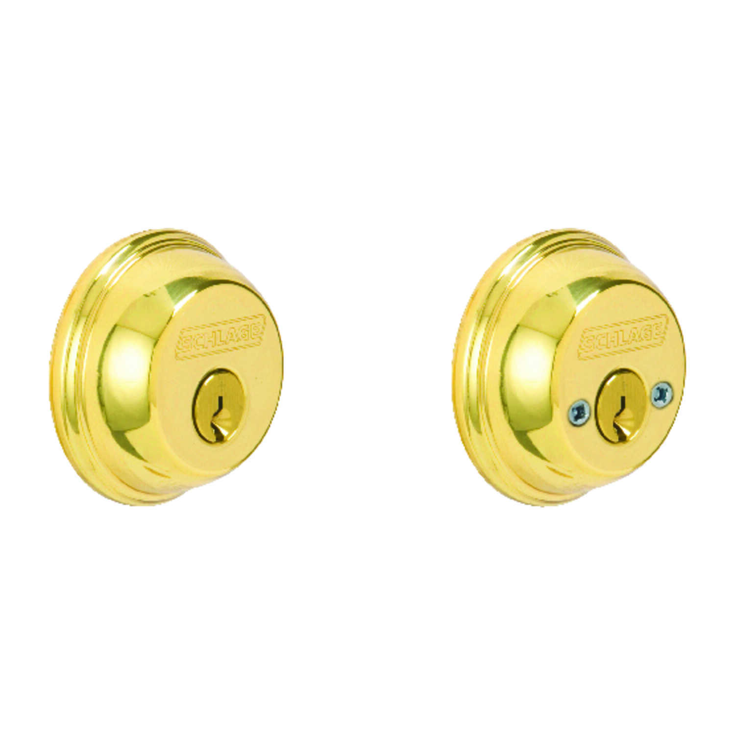 Schlage  Bright Brass  Zinc  Double Cylinder Deadbolt