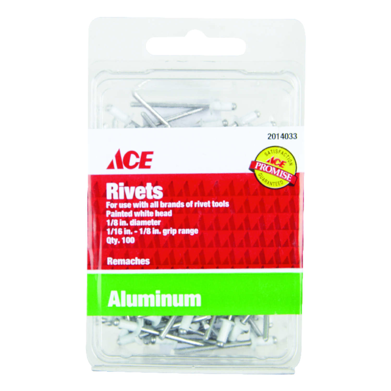 Ace  1/8 in. Dia. x 1/8 in.  Aluminum  Blind  Rivets  White  100 pk