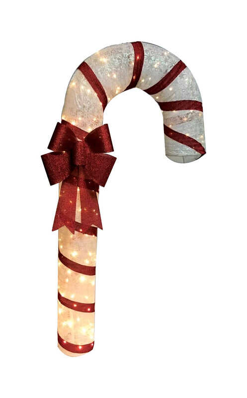 Citi-Talent  Candy Cane w/Bow  Holiday Decoration  Red/White  Fabric  1 pk