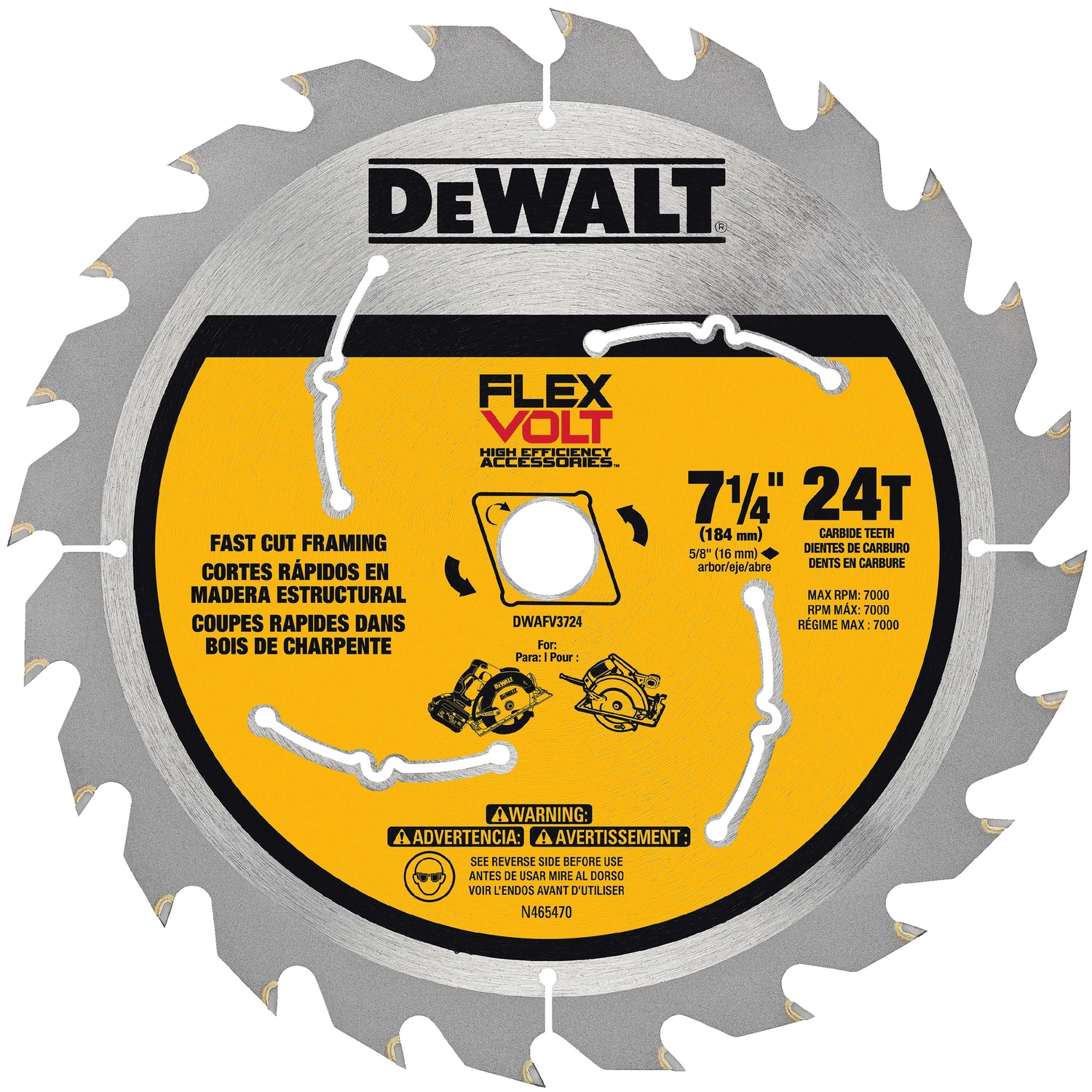 DeWalt  Flexvolt  7-1/4 in.  Carbide Tipped Steel  Circular Saw Blade  5/8 in.  1 pk 24 teeth