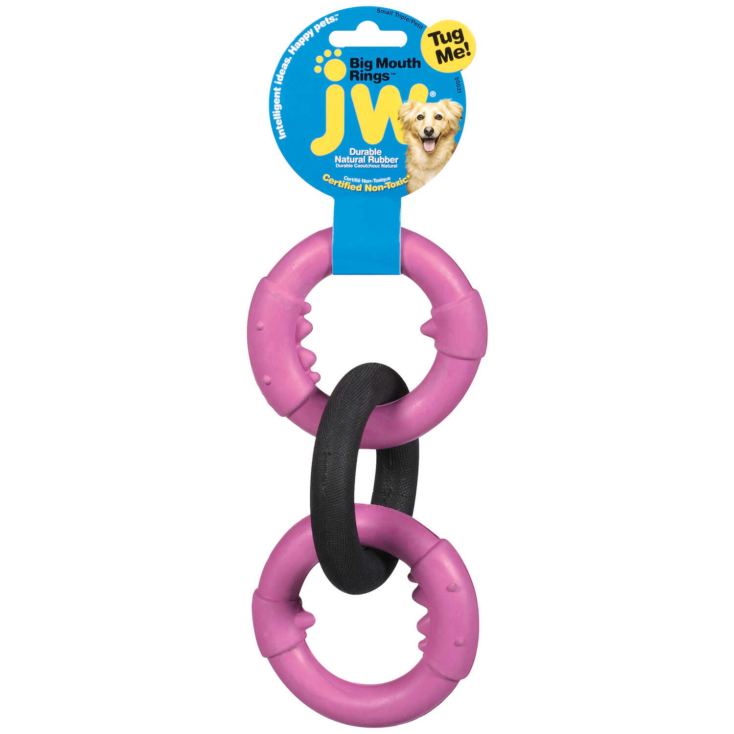 JW Pet  Black/Pink  Rubber  Big Mouth Triple Chain Links  Small  Dog Tug Toy