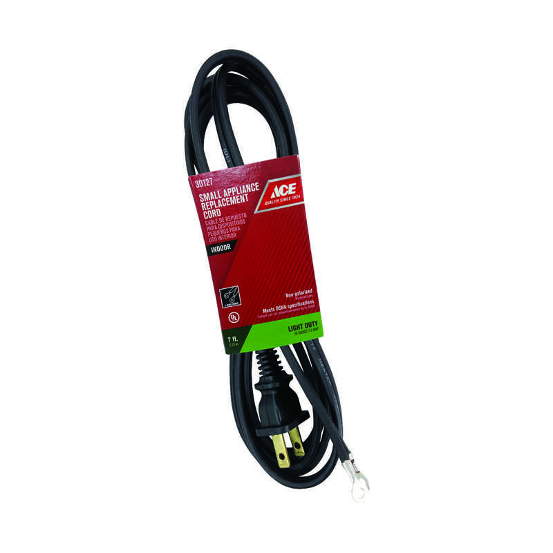 Ace  125 volt 7 ft. L Appliance Cord  16/2 HPN