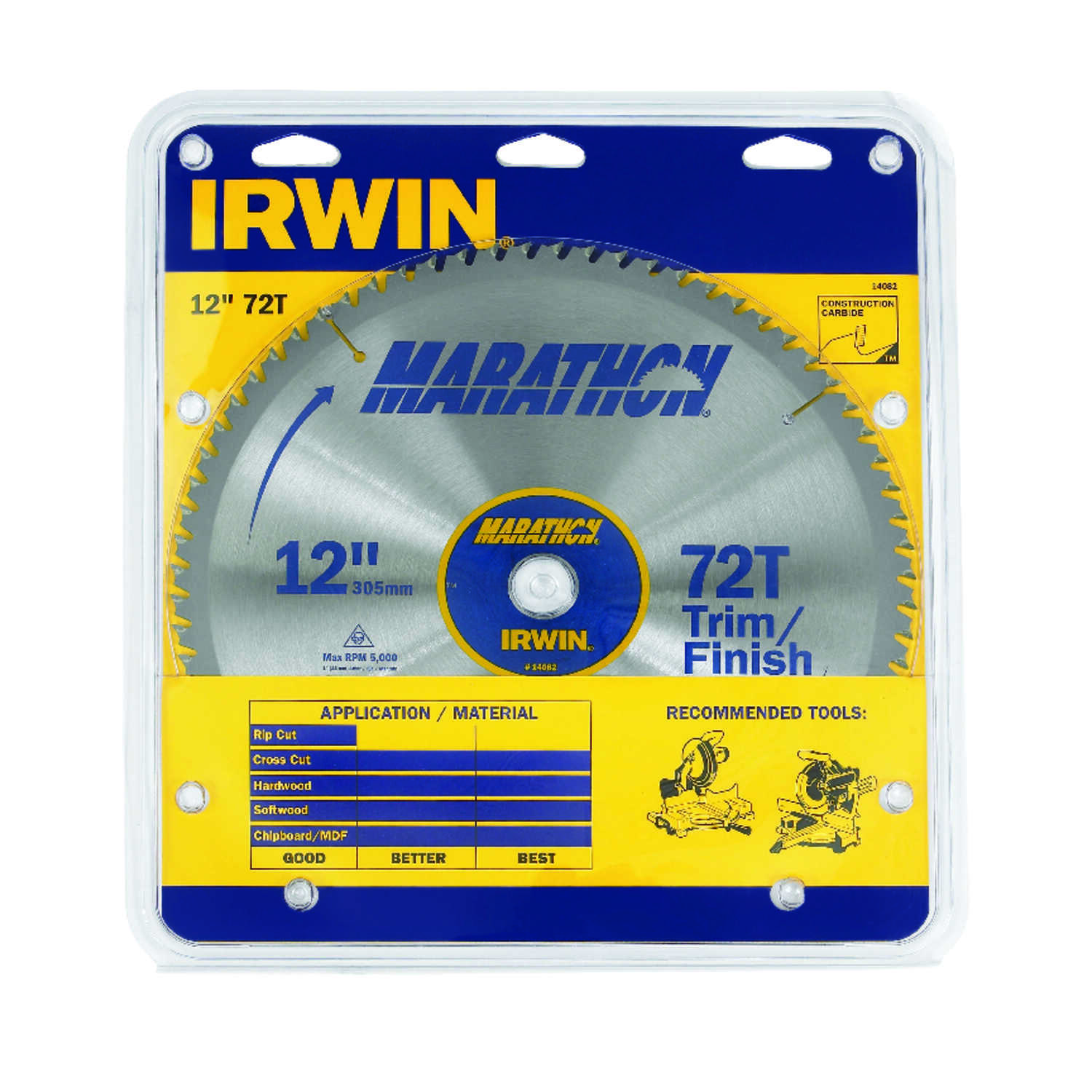 Irwin  Marathon  12 in. Dia. x 1 in.  Carbide  Miter and Table Saw Blade  72 teeth 1 pc.