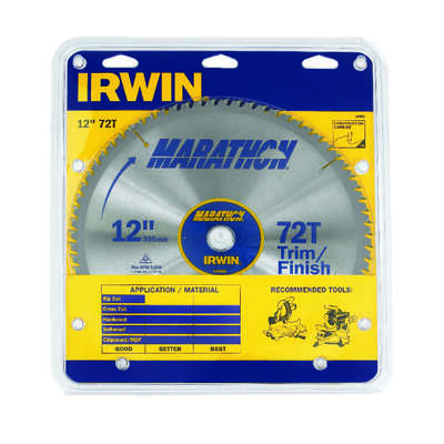 Irwin  Marathon  12 in. Dia. x 1 in.  Carbide  Miter and Table Saw Blade  72 teeth 1 pk
