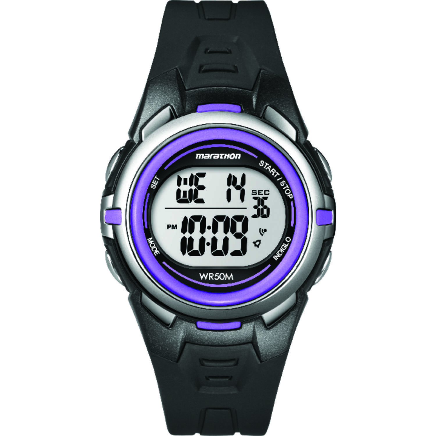 Timex  Marathon  Unisex  Round  Black/Purple  Watch  Digital  Resin  Water Resistant