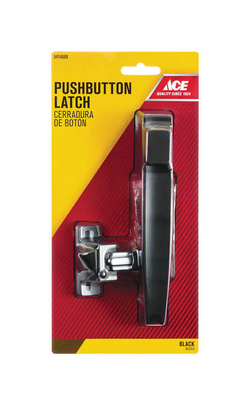 Ace  Black  Steel  Push Button Latch  1 pk